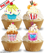 PRE-CUT CUPCAKES EDIBLE RICE / WAFER PAPER CUPCAKE CAKE DESSERT TOPPERS BIRTHDAY PARTY DECORATIONS