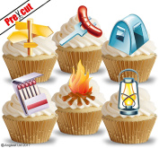 PRE-CUT CAMPING ACCESSORIES EDIBLE RICE / WAFER PAPER CUPCAKE CAKE DESSERT TOPPERS BIRTHDAY PARTY DECORATIONS
