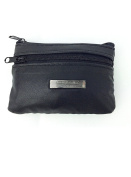 LADIES MENS BLACK SOFT LEATHER COIN PURSE POUCH WALLET