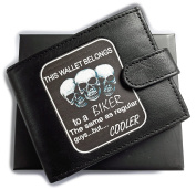 Biker Wallet Anti RFID Theft Wallet Black Soft Leather Large Zipped Coin Pocket Gift Boxed