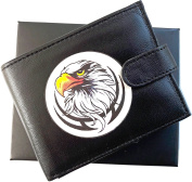 Eagle Design Anti RFID Theft Wallet Black Soft Leather Large Zipped Coin Pocket Gift Boxed