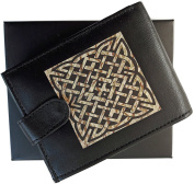 Celtic Design Anti RFID Theft Wallet Black Soft Leather Large Zipped Coin Pocket Gift Boxed