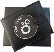 Top Gear / Gears Anti RFID Theft Wallet Black Soft Leather Large Zipped Coin Pocket Gift Boxed
