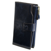 Classic Real Leather Wallet Clutch Bag Card Case Cash Holder Wallets Purse with Large Capacity for Unisex Peacock Blue
