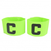 sourcingmap® C Printed Elastic Football Tension Soccer Player Captain Armband 2pcs Yellow Green