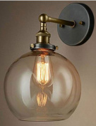 Vintage Industrial Copper One-Light Glass Shade Wall Lamp Ball Shape Amber