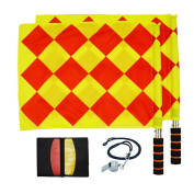 Football Referee Kit Including Whistle, the Referee Flag, Red and Yellow Card, the Football Match Pocket Record.