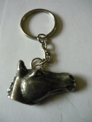 Horse's Head TG3 Equestrian Emblem Made From Fine English Pewter on a Split Ring Keyring / BAG CHARM VERY FINE DETAILS COMES gift bagged POSTED BY US GIFTS FOR ALL 2016 FROM DERBYSHIRE UK