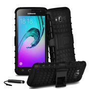 Samsung Galaxy J3 2016 Heavy Duty Shock Proof Dual Case Full Protection Cover with Back Stand & Screen Protector & Stylus