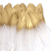 Coceca 36PCS Gold Dipped Natural White Feathers for Various Crafts, Birthday Parties, Wedding and Party Dress-ups