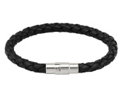 Hosaire Elegant Classic Style Women's Men's Black Leather Bracelet with Stainless Steel Clasp
