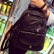 Ladies leather shoulder Bags Stylish stitching Korean version dual-use travel backpack, black