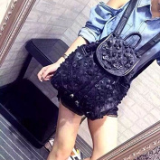 Stylish leather female bags sheepskin Shoulder bags small fields backpack, black