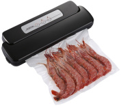 Vacuum Sealer Machine, Geryon Compact Automatic Vacuum Sealing System with Starter Pack of Saver Roll and Bags for Food Preservation, Black