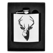 Stainless Steel Stag's Head Hip Flask in Gift Box