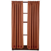 Scalloped Short Panel Curtain in Red - Set of 2