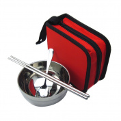TININNA Portable Stainless Steel Spoon Chopsticks Bowl Flatware Set with Zipper Case Holder for Travel Hiking Camping Red
