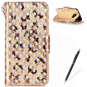 Samsung Galaxy S7 Edge Wallet Case,MAGQI Luxury PU Leather Case Laser Carved Technology Butterfly Series Design [Card Slots & Money Pocket] Magnetic Closure Stand Function Slim Fit Protective Flip Book Style Cover with Detachable Hand Strap + Free Styl ..
