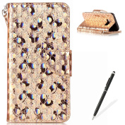 Samsung Galaxy S8 Wallet Case,MAGQI Luxury PU Leather Case Laser Carved Technology Butterfly Series Design [Card Slots & Money Pocket] Magnetic Closure Stand Function Slim Fit Protective Flip Book Style Cover with Detachable Hand Strap + Free Stylus fo ..