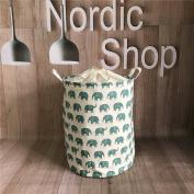 Fieans Foldable Closet Storage Bin Bag Storage Basket Bucket Cotton and Linen Laundry Hamper with Handles-Green Elephant