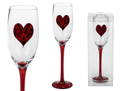 1 Red Heart Champagne Glasses Red Handle and Base Height Approx. 23 cm in PVC Box
