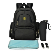 Lightweight 16 Pockets Water-resistant Backpack Nappy Bag with Insulated Bottle Pockets and Changing Mat Black