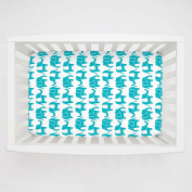 Carousel Designs Teal Marching Elephants Mini Crib Sheet 13cm -15cm Depth - Organic 100% Cotton Fitted Mini Crib Sheet - Made in the USA