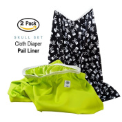 Baby Tooshy Nappy Pail Liner Set (2) - Large Capacity Wet Bag for Cloth & Disposable Nappies. Effectively Contains Stinky Nappies. Heavy Duty PUL offers Superior Leak Free Protection. Skulls