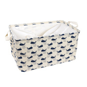 USATDD Large Square Natural Linen & Cotton Fabric Storage Bins Shelves Storage Baskets Organisers for Nursery & Kid's Roome with Handle