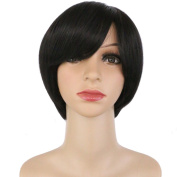 DODOING Short Straight Hair Bob Wigs Flat Bangs Party Cosplay Synthetic Hair Wig for Women Lady