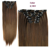 60cm 6 Pcs 16 Clips 140g Clip in Synthetic Hair Extensions with Double Weft Straight Hairpieces for Women