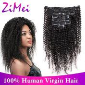 ZiMei Clip in Human Hair Extensions Afro Kinky Curly Brazilian Virgin Hair for Black Women Natural Black 4B 4C Clip Ins 7pcs/lot,120gram/set 30cm