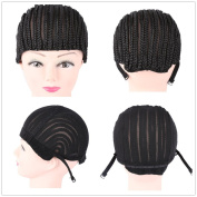 2pcs M size Cornrow Wig Cap For Making Wigs Adjustable Black Colour Crochet Braided Weaving Cap Lace Elasti Hairnet Hair Styling Tool