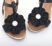 Women Black Fabric Flower Shoe Clips,Dress Shoe Clips, Prom Shoe Clip,Women's Shoes