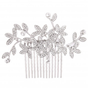 Fairy Moda Vintage Inspired Leaves Bridal Hair Comb Silver Clear Rhinestone Hair Clip