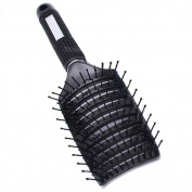 Rubber Bristle Hair Brushes - Garrelett Curved Vented Detangling Hair Brush Non-slip Rubber Handle Massage Combs for Women Long, Thick, Thin, Curly & Tangled Hair Black