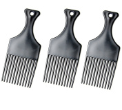 Luxxii (3 Pack) 18cm Large Plastic Afro Pik Lift Hair Comb Detangle Wig Braid Hair Man Styling Comb