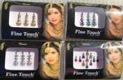 Good Quality 4 Pack Gold ,Silver, Multi Colour Assorted Size Bollywood Head Bindi Tattoo Indian Art Rhinestone Stickon Reusable