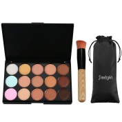 JewelryWe 15 Colours Contour Professional Eye Face Concealer Cream Palette Makeup with Brush