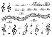 Set of 2 Waterproof Temporary Fake Tattoo Stickers Music Notes English Letters