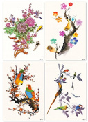 DaLin 4 Sheets Temporary Tattoos for Men Women, Peony Flower, Plum Blossom, Red Wintersweet and Magpies Birds