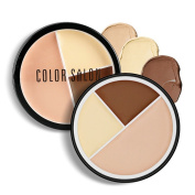 Colour Salon 3 Colours Facial Compact Foundation Cream Contour and Highlighting Bronzer Makeup Kit for Contouring Foundation / Concealer Palette ,Cruelty Free & Hypoallergenic