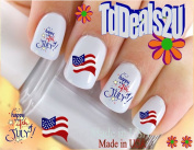Holiday 4th of July - Happy July 4th #9 American Flag Fireworks - WaterSlide Nail Art Decals - Highest Quality! Made in USA