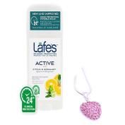 Lafe's Bodycare Natural Stick Deodorant ACTIVE SCENT & Pink Rhinestone Heart Necklace Pendant