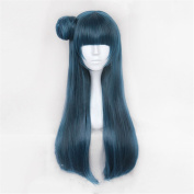 Hand Tied Long Green Colour Yaki Straigt Glueless Synthetic Wig Heat Resistant Hair Women Wigs