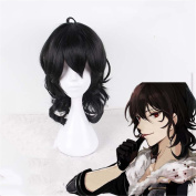Black Middle Long Wavy Swiss Synthetic Curly Wig Heat Resistant Cosplay Hair Wigs For Women