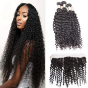 Verna HiarBrazilian Curly Virgin Hair Weaves 3 Bundles with 1pc 13x4 Ear to Ear Full Lace Frontal Closure, unprocessed human hair extensions