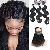 Kylie Beauty Hair Pre Plucked 360 Lace Frontal With 3 Bundles Brazilian Body Wave Virgin Human Hair 360 Lace Frontal Closure Bleached Knot Baby Hair