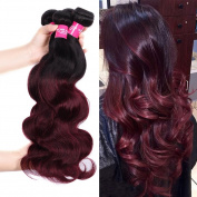 Wome Hair 7A Grade Peruvian Virgin Wavy Ombre Colour 1b/99j Body Wave 3 Bundles Cheap 100% Human Hair Products 100g/bundle Remy Weave Extensions