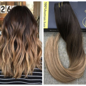 Ugeat 36cm 50Gram Brazilian Remy Hair One Piece Clip in Hair Extensions with Clips Ombre Balayage Hair #2 Darkest Brown Fading to #6 Medium Brown Mixed with #12 Blonde Clip in Extensions